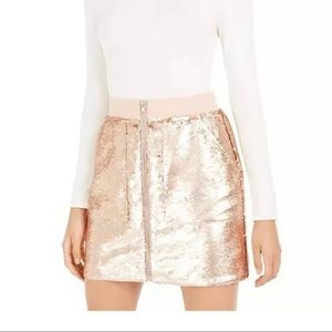 Bar III Sequins Utility Skirt size S Rose Gold